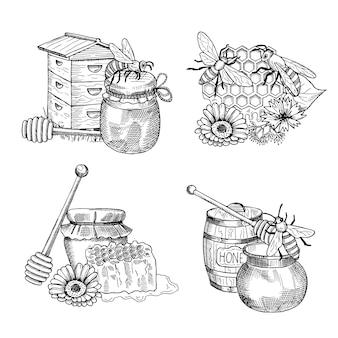 Stapel von hand gezeichneten honig elementsatz. von honigzeichnung und bieneninsekt