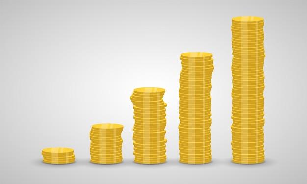 Stapel von münzen steigt