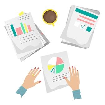 Stapel von papieren und dokumenten auf dem schreibtisch mit einer tasse kaffee und schreibwaren. cartoon-stil.