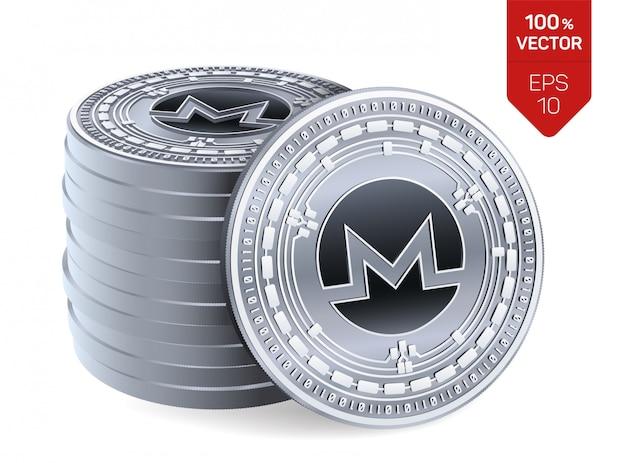 Stapel von silbermünzen mit monero-symbol lokalisiert auf weißem hintergrund.