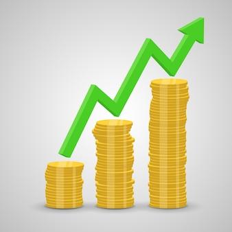 Stapel von steigenden münzen und pfeildiagramm Premium Vektoren