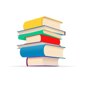 Stapel von verschiedenen bunten lehrbüchern im stapel lokalisiert auf weiß