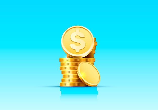 Stapel von zunehmenden münzen goldmünzen auf blauer oberfläche