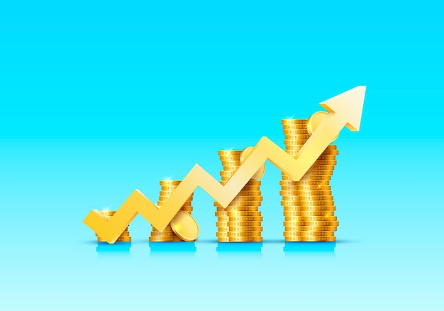 Stapel von zunehmenden pfeilmünzen goldmünzen auf blauer oberfläche