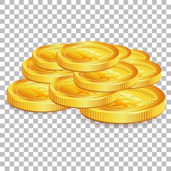 Stapeln sie bitcoins auf transparentem hintergrund