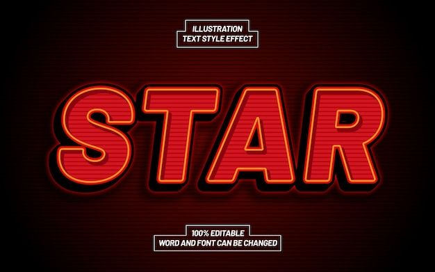 Star bold text style-effekt