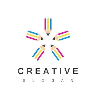 Star creative bleistift logo vorlage