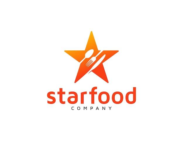 Star food logo mit löffel, gabel und küchenmesser design