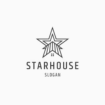 Star house line style logo icon design flache vorlage vektor illustration