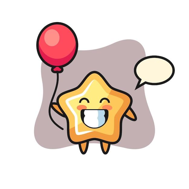 Star-maskottchen-illustration spielt ballon, niedliches design für t-shirt, aufkleber, logo-element