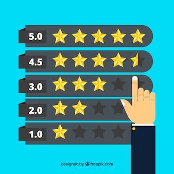 Star-rating-konzept mit dem finger