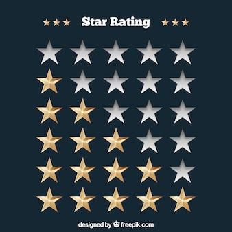 Star rating-konzept mit realistischen sternen