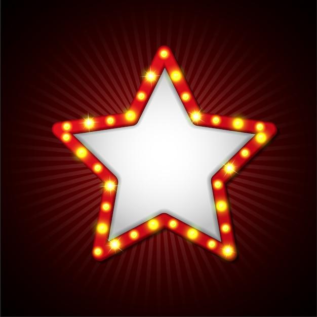 Star-schild retro-stil mit lampen