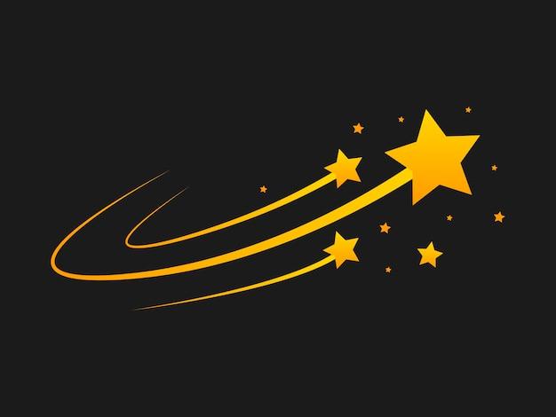 Star silhouette des fallens von kometen, meteoriten, asteroiden, funken von feuerwerkskörpern. vektorgestaltungselemente lokalisiert auf schwarzem hintergrund.