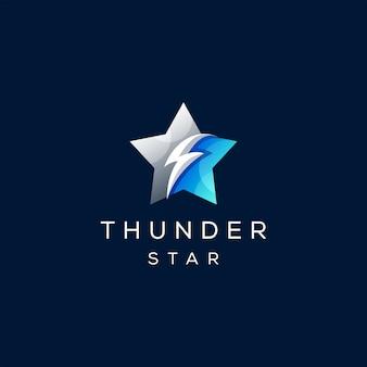 Star thunder gradient logo design