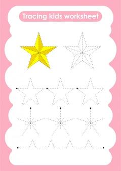Star - trace linien schreiben und zeichnen übungsarbeitsblatt für kinder
