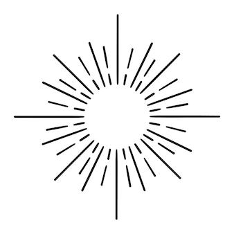 Starburst, sonnendurchbruch handgezeichnet. designelement feuerwerk schwarze strahlen. komischer explosionseffekt. strahlende, radiale linien.