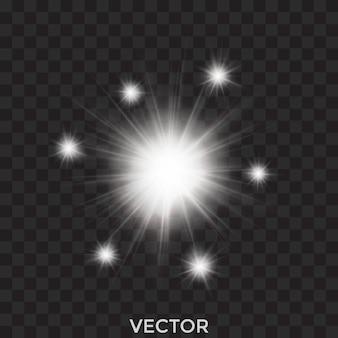 Starburst, sterne, transparente weiße lichter