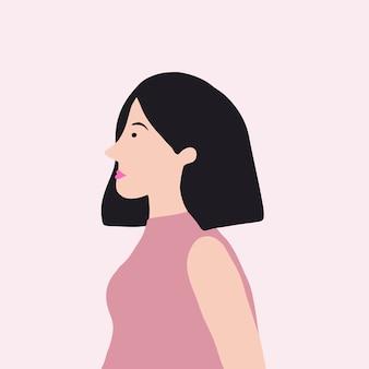 Starke asiatische frau im profilvektor