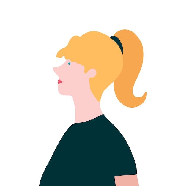 Starke blonde frau im profilvektor