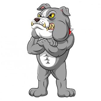 Starke bulldogge in stehender pose der illustration