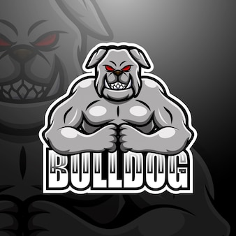 Starke bulldogge maskottchen esport logo illustration