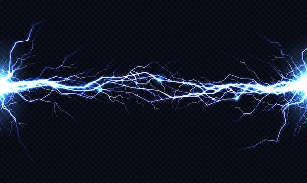 Starke elektrische entladung, die von seite zu seite realistisch schlägt