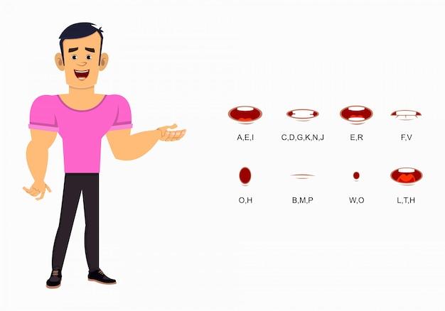 Starke jungen-zeichentrickfigur mit unterschiedlicher lippensynchronisation für design, bewegung oder animation