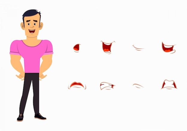 Starke jungenkarikaturfigur mit unterschiedlichem gesichtsausdrucksatz. unterschiedliche emotionen für benutzerdefinierte animationen