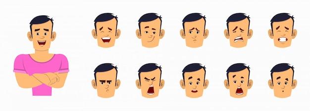 Starke jungenkarikaturfigur mit unterschiedlichem gesichtsausdrucksatz. verschiedene gesichtsgefühle für benutzerdefinierte animationen