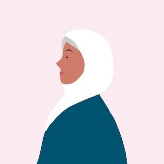 Starke moslemische frau im profilvektor