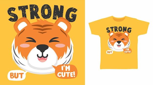 Starke tigerkarikatur für t-shirt-designkarikatur für t-shirt-design