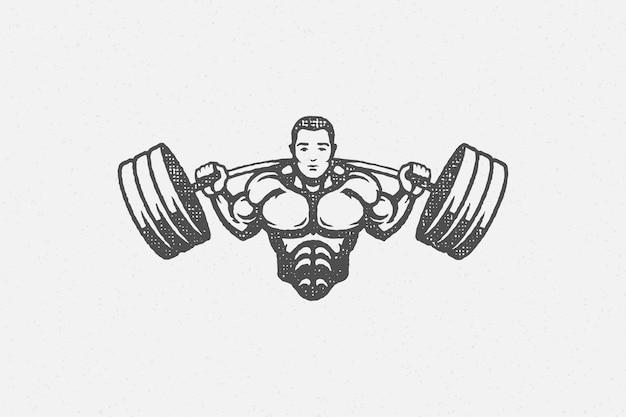 Starker bodybuilder, der langhantel-silhouette handgezeichneten stempel anhebt