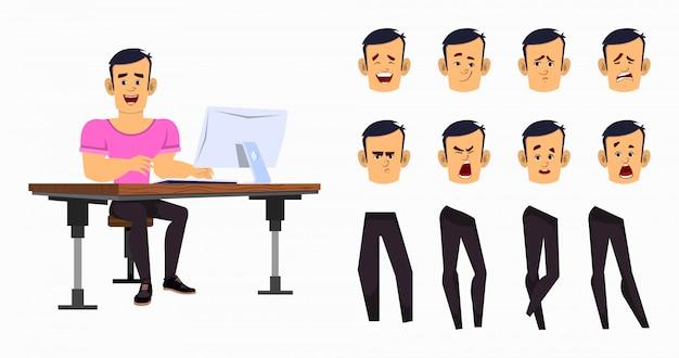 Starker cartoonjungenarbeiter für animation oder bewegung mit verschiedenen gesichtsgefühlen und händen. zeichensatz für büroangestellte