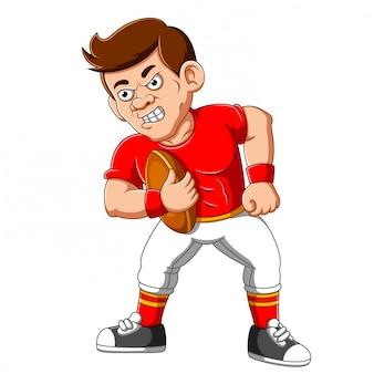 Starker fußballspieler-cartoon