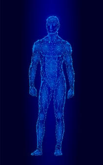 Starker gesunder menschlicher körper, der niedriges polydesign des modells 3d, androider roboterhumanoid steht