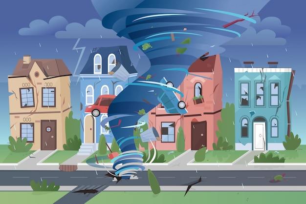 Starker mächtiger tornado-hurrikan, der kleine stadtgebäude zerstört. wirbelnder wirbelwind der naturkatastrophe, der stadt- und autoillustration beschädigt.