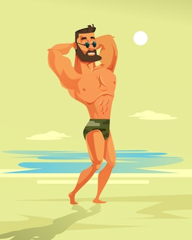 Starker mann bodybuilder charakter. cartoon-illustration