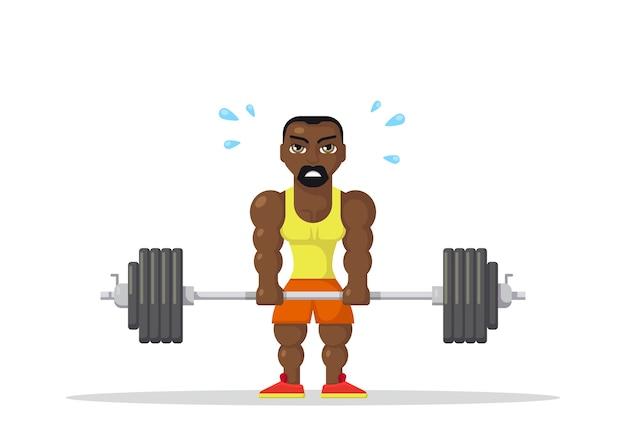 Starker mannathlet, der kreuzhebenübung im fitnessstudio tut. fitness-workout-konzept. flaches charakter-design.