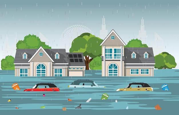 Starker regen fällt und stadtflut im modernen dorf.