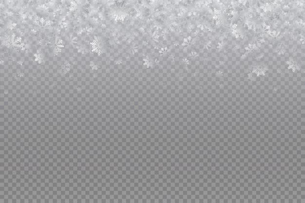 Starker schneefall, schneeflocken in verschiedenen formen und formen.