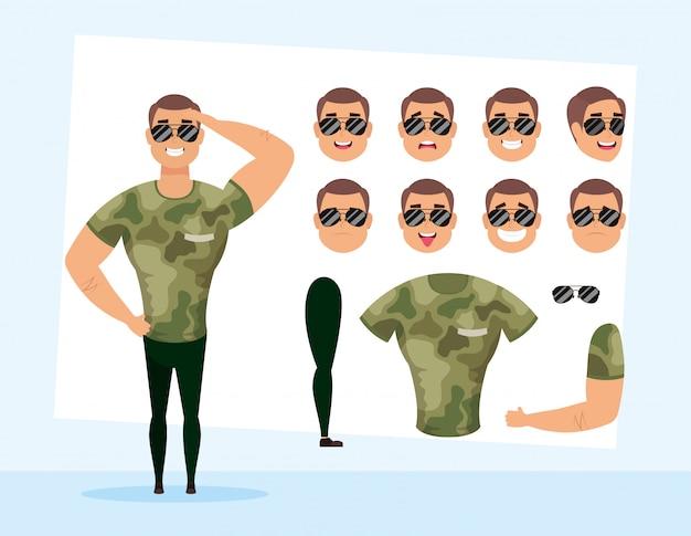 Starker soldat mit satzgesichtscharakter-vektorillustrationsdesign