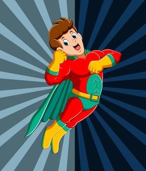Starker superheld mann fliegt