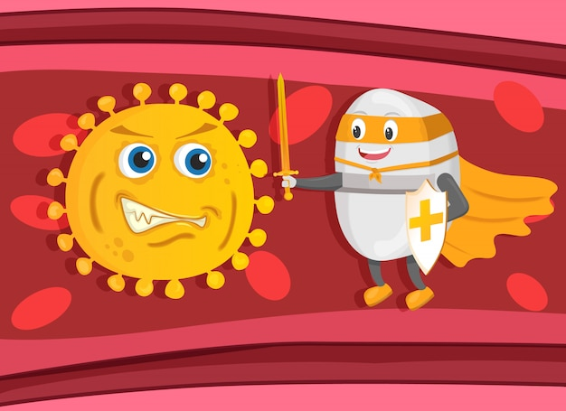 Starker supethero pillenwächter mit schwert und schild bekämpft bakterien oder viren im blut