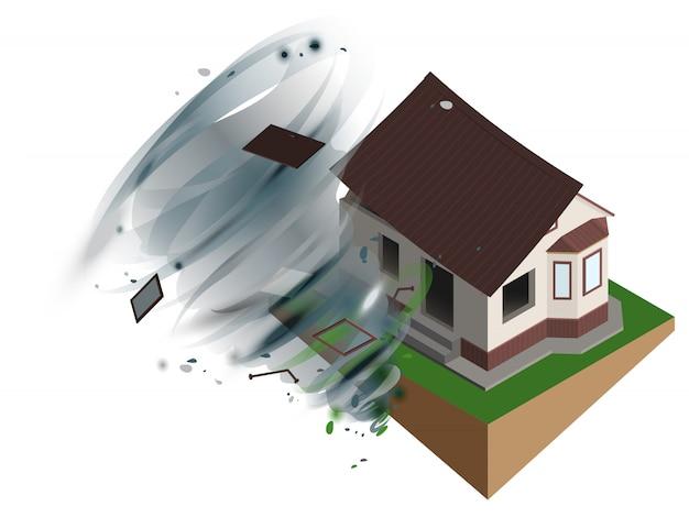 Starker windhurrikan riss dach des hauses ab. hausratsversicherung
