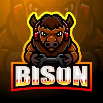 Starkes bison-maskottchen-esport-logo-design