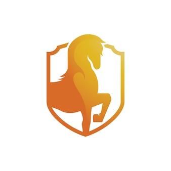 Starkes goldenes pferd im schild-abstrakten symbol