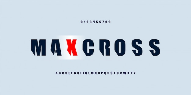 Starkes kraftdickes alphabet. fettgedruckte schriftarten mit slice-effekt