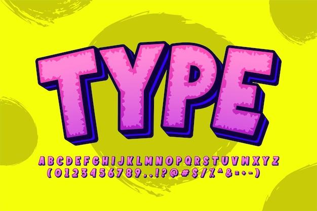 Starkes mutiges cartoon-alphabet-design für comic-design