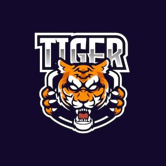Starkes tiger e-sport team logo maskottchen design